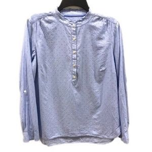 TALBOTS blue swiss dot popover blouse M